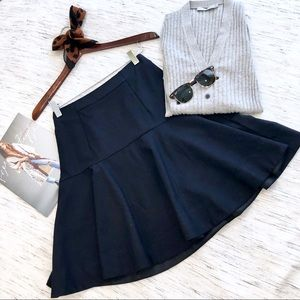 J. Crew Super 120s Fit & Flare Navy Skirt Size 0P